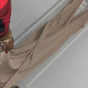 Fashion Nova Dresses - Nude Suede High Split Dress